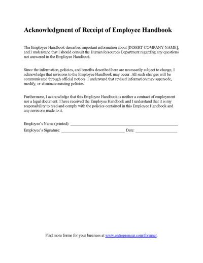 Employee Handbook Receipt Form  Employee Handbook Business