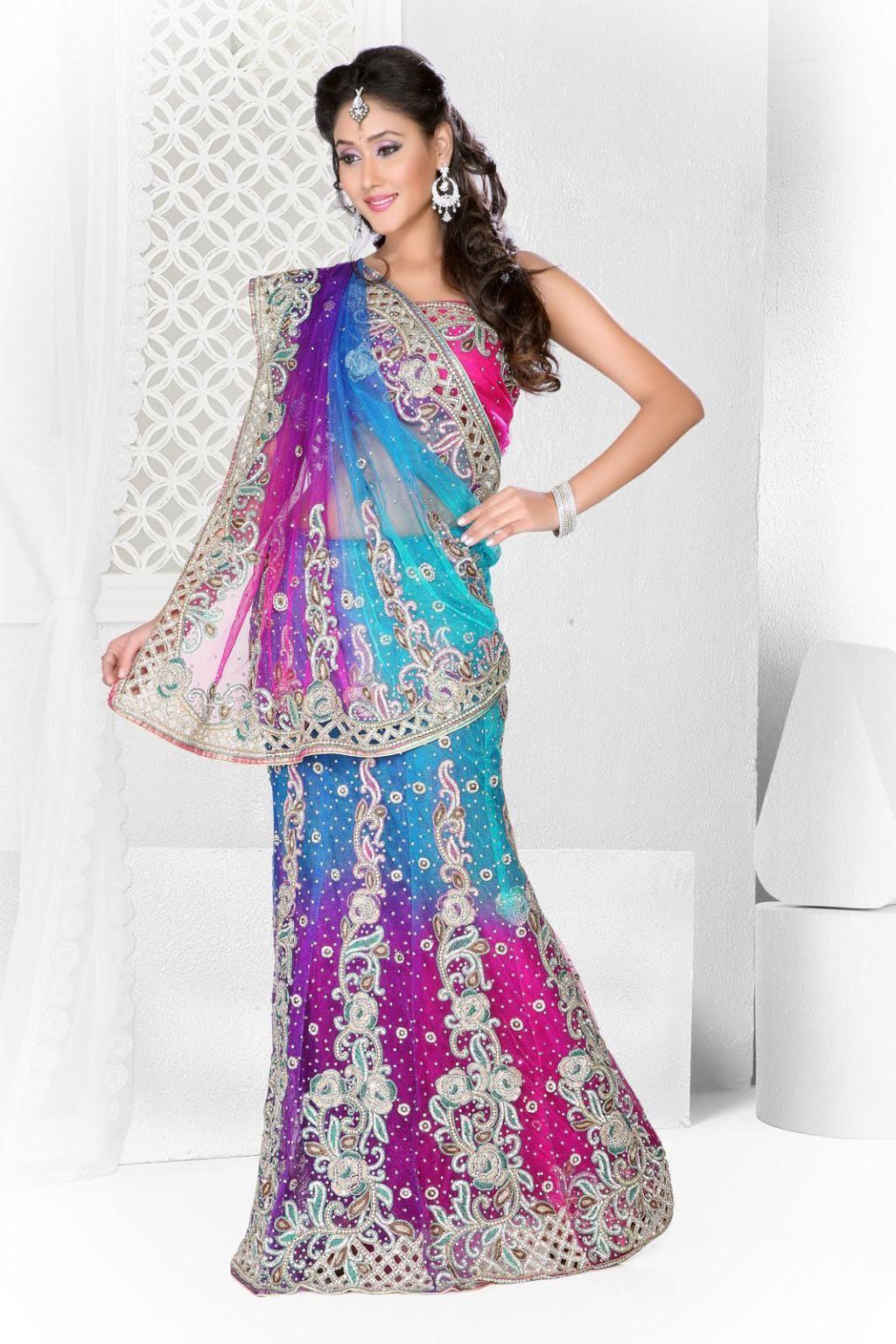 07997b5457 Blue and Pink Stone Work Net A Line Lehenga Saree 22670 | Bridal ...