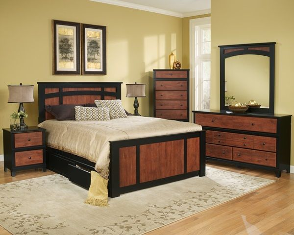Perdue Woodworks Country Retreat Cinnamon and Black 7 piece queen ...