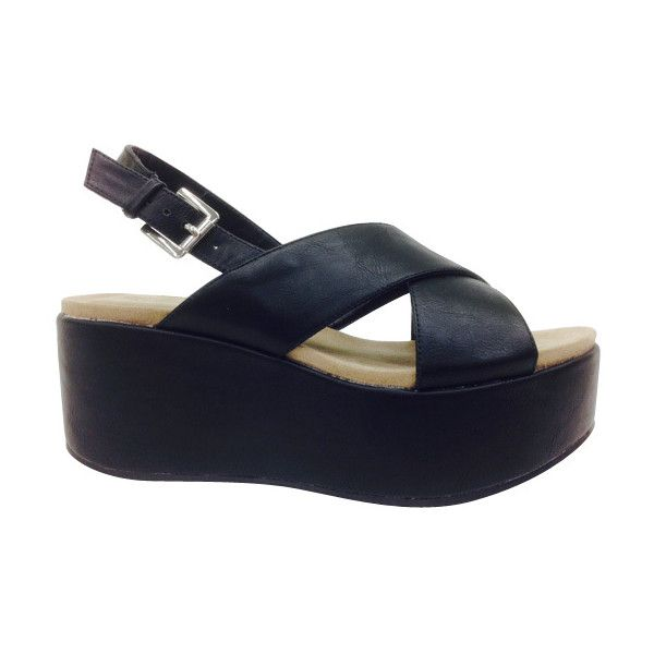 ace15bd18a9 Bamboo Black Ophelia Cross-Strap Wedge Sandal ( 20) ❤ liked on Polyvore  featuring shoes