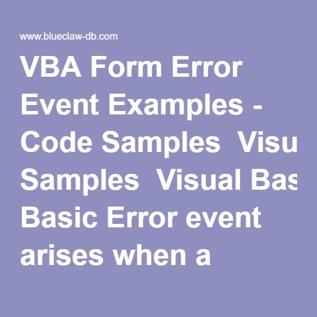 VBA Form Error Event Examples - Code Samples Visual Basic Error
