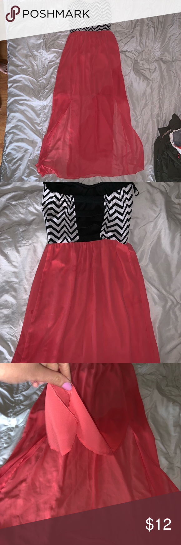 SCHOOL DANCE DRESS SZ SMALL Fairly new long black & white striped top with long pink bottom, slits on both sides ! Sweet Storm Dresses Strapless #schooldancedresses SCHOOL DANCE DRESS SZ SMALL Fairly new long black & white striped top with long pink bottom, slits on both sides ! Sweet Storm Dresses Strapless #schooldancedresses