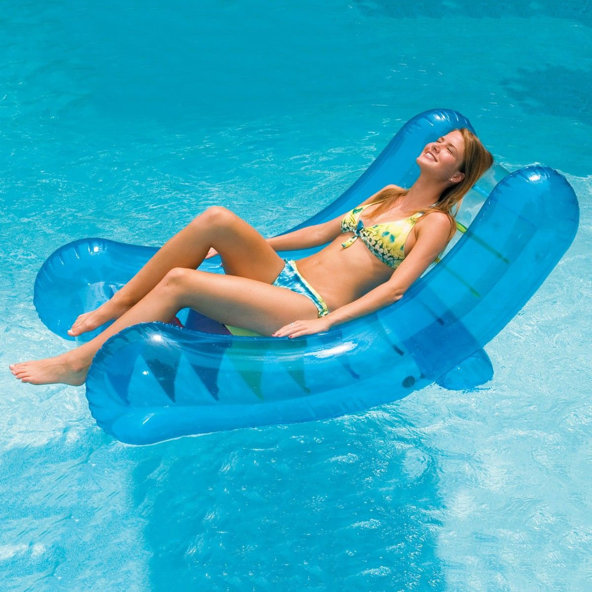 An Inflatable Rocker That S Fun Fashionable And Comfortable Rocker Lounger Is A Pool Rocker That S Uniquely Pool Lounger Inflatable Swimming Pool Pool Lounge