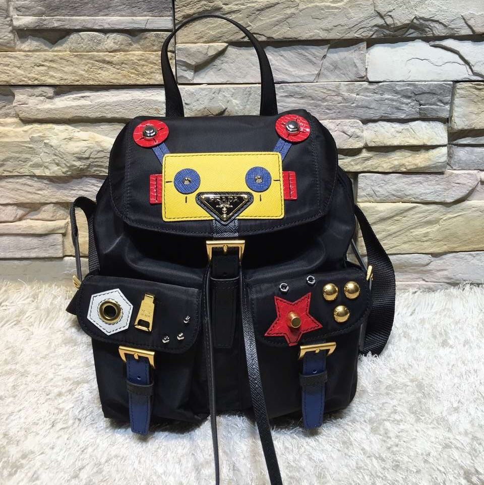 ad0911205a8f Prada 1BZ677 Fabric Backpack with Robot 2016 | Prada Bags on Sale ...