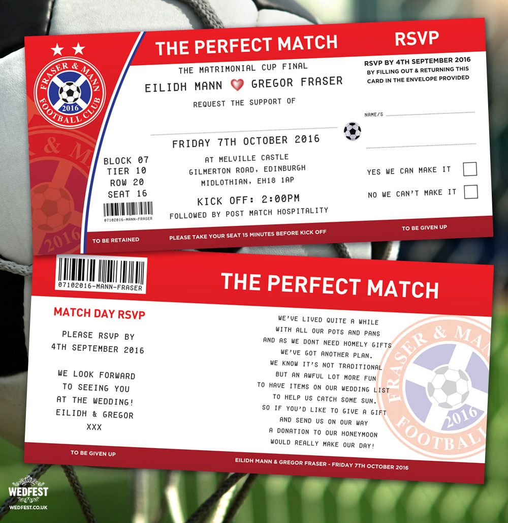 football soccer tickets wedding invitations perfect match http://www ...