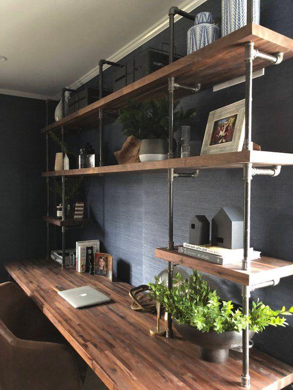 Butcher Block Office Desk Built-In