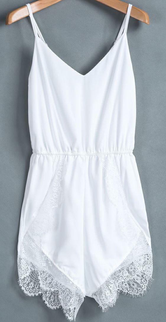 ca005b73fab6 White Spaghetti Strap Lace Chiffon Jumpsuit- Perfect for those hot summer  days