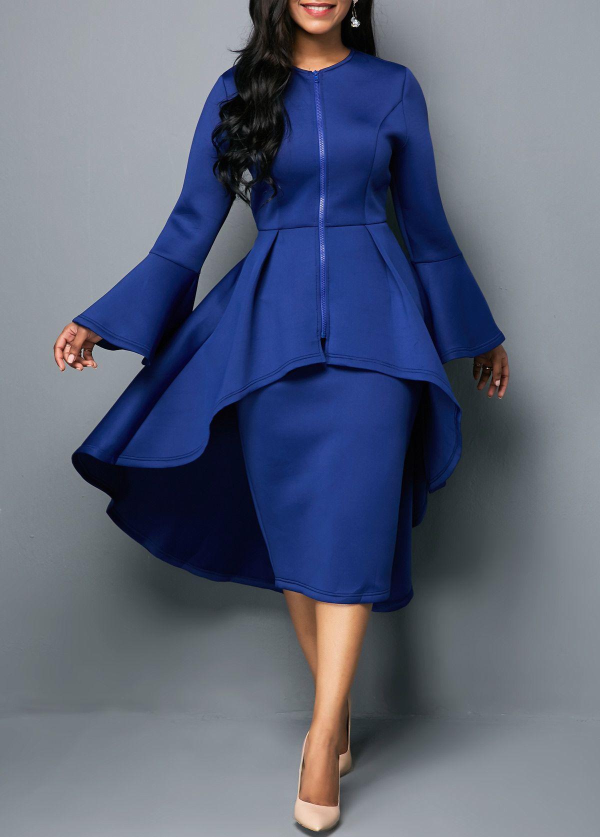 7ca27501a5435 Dip Hem Zipper Front Top and Skirt