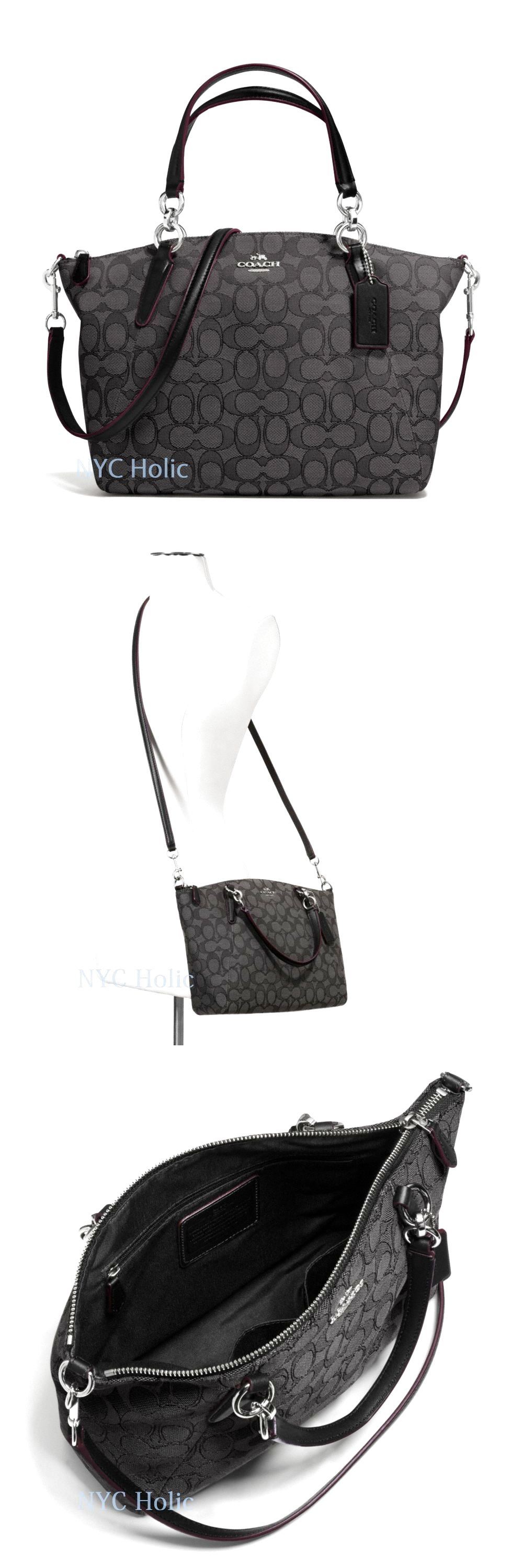 d43f008129 New Coach F36625 Small Kelsey Satchel In Signature Black Smoke NWT  119.95