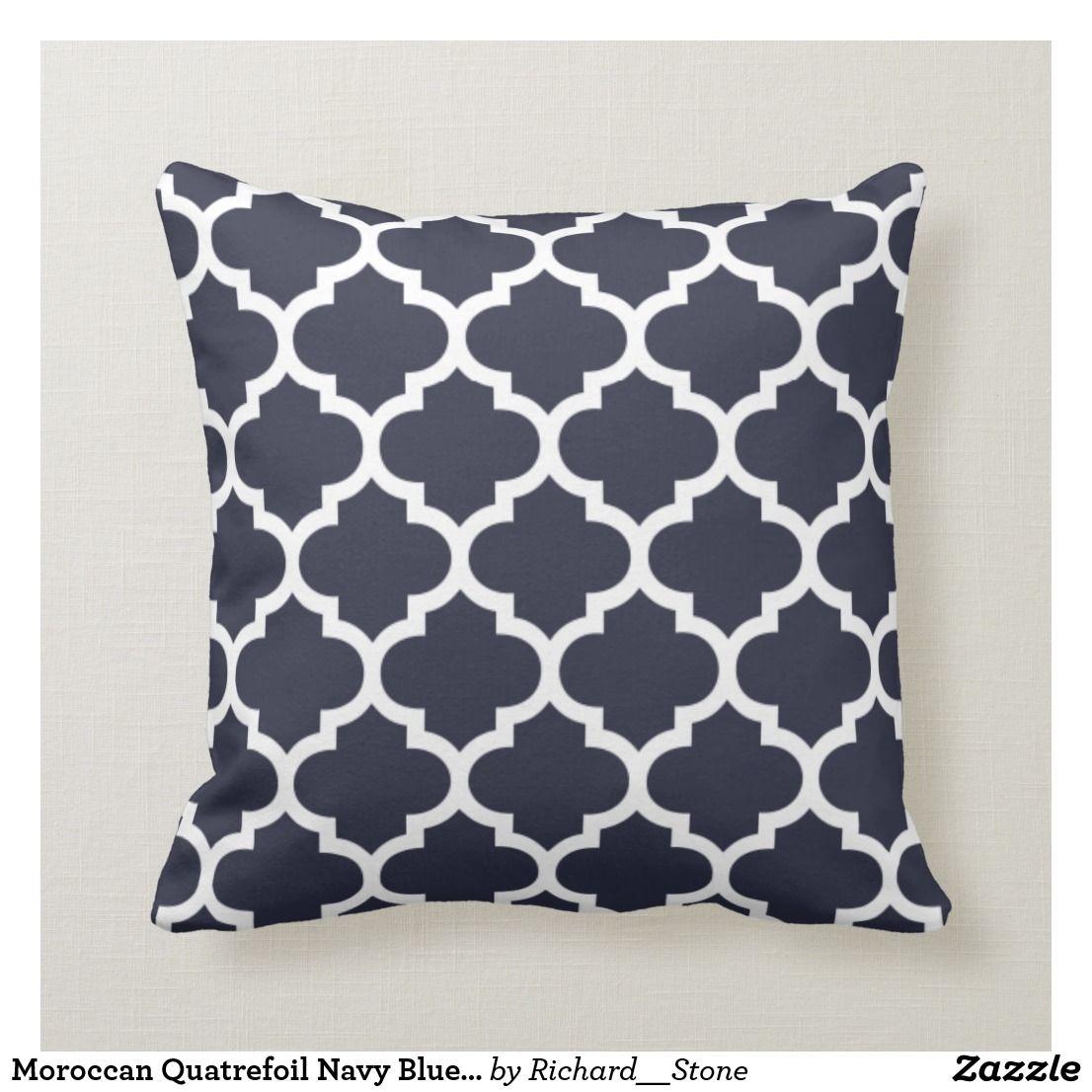 Moroccan Quatrefoil Navy Blue Pillow