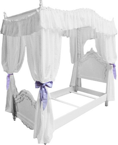 Fc38 Girls Twin Size Princess Bed Drape Canopy Curtains Fabric Top Cover Ruffled Canopy Curtains Canopy Bed Frame White Canopy