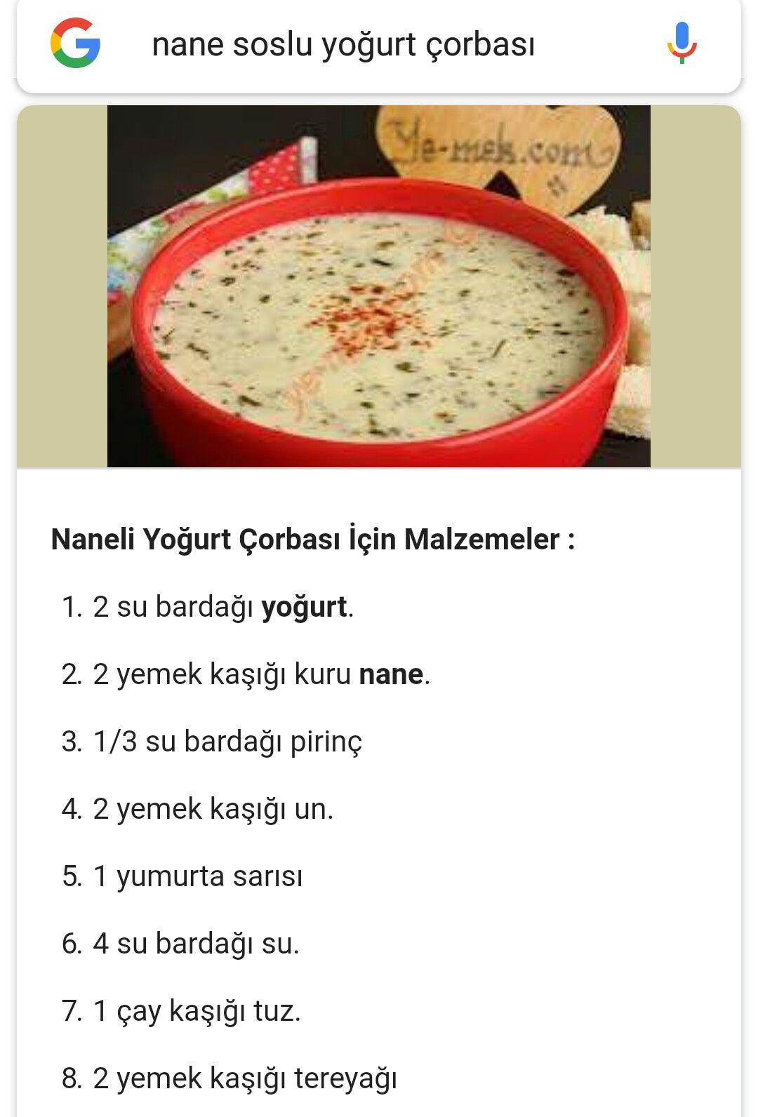 Nane Soslu Yogurt Corbasi Yemek Nane Pasta Tarifleri