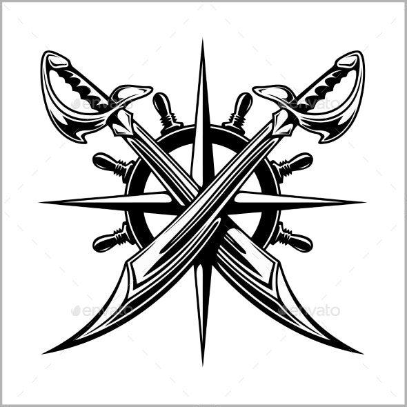 Pirates Emblem Steering Wheel And Crossed Swords Pirates Sword Tattoo Sleeve Designs