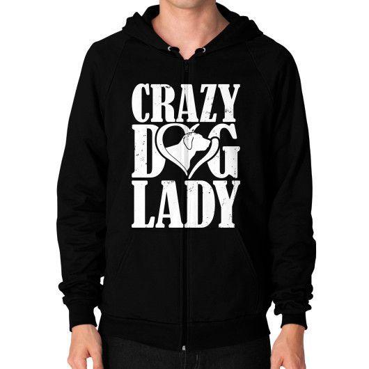 Crazy dog lady Zip Hoodie (on man)