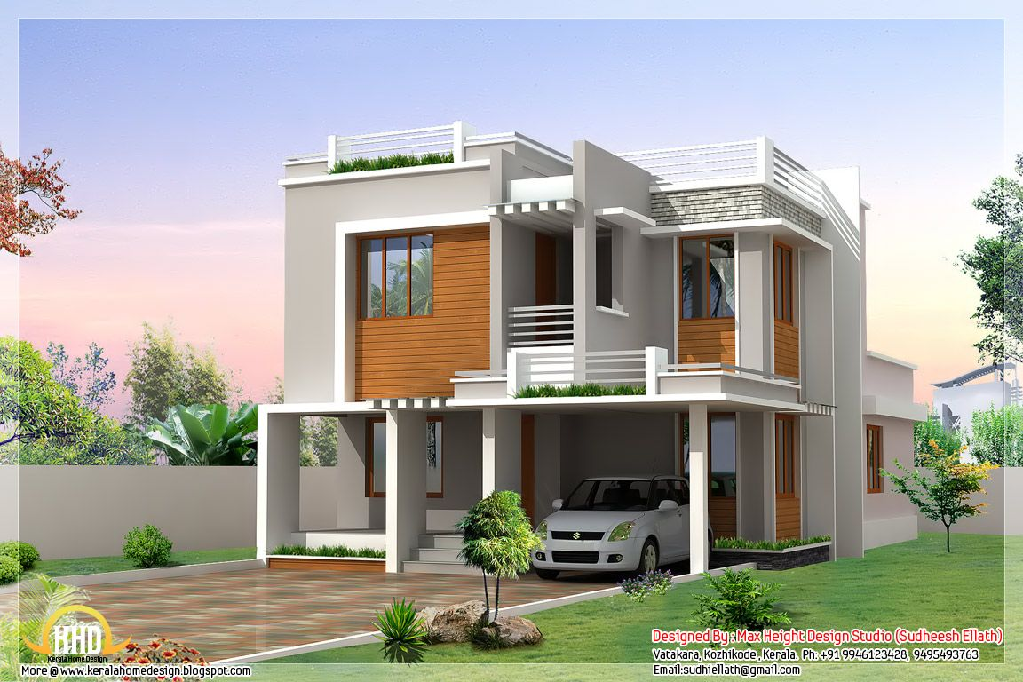 Modern bedroom sloping roof house sq ft sq feet flat roof for Small indian house plans modern