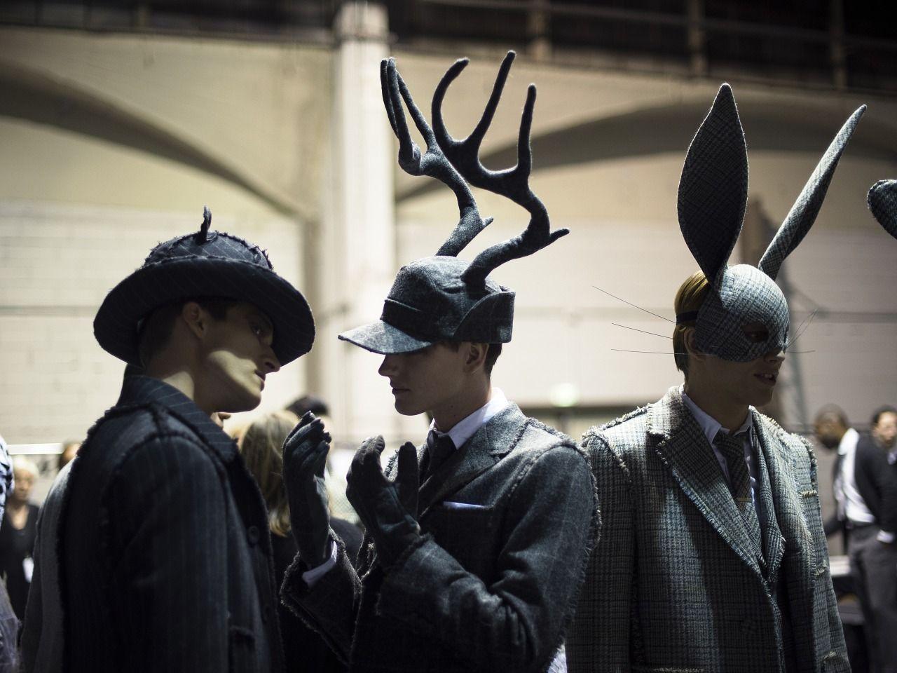 "thombrowneny: "" …fall 2014 backstage animals… photo: Liam Goslett """