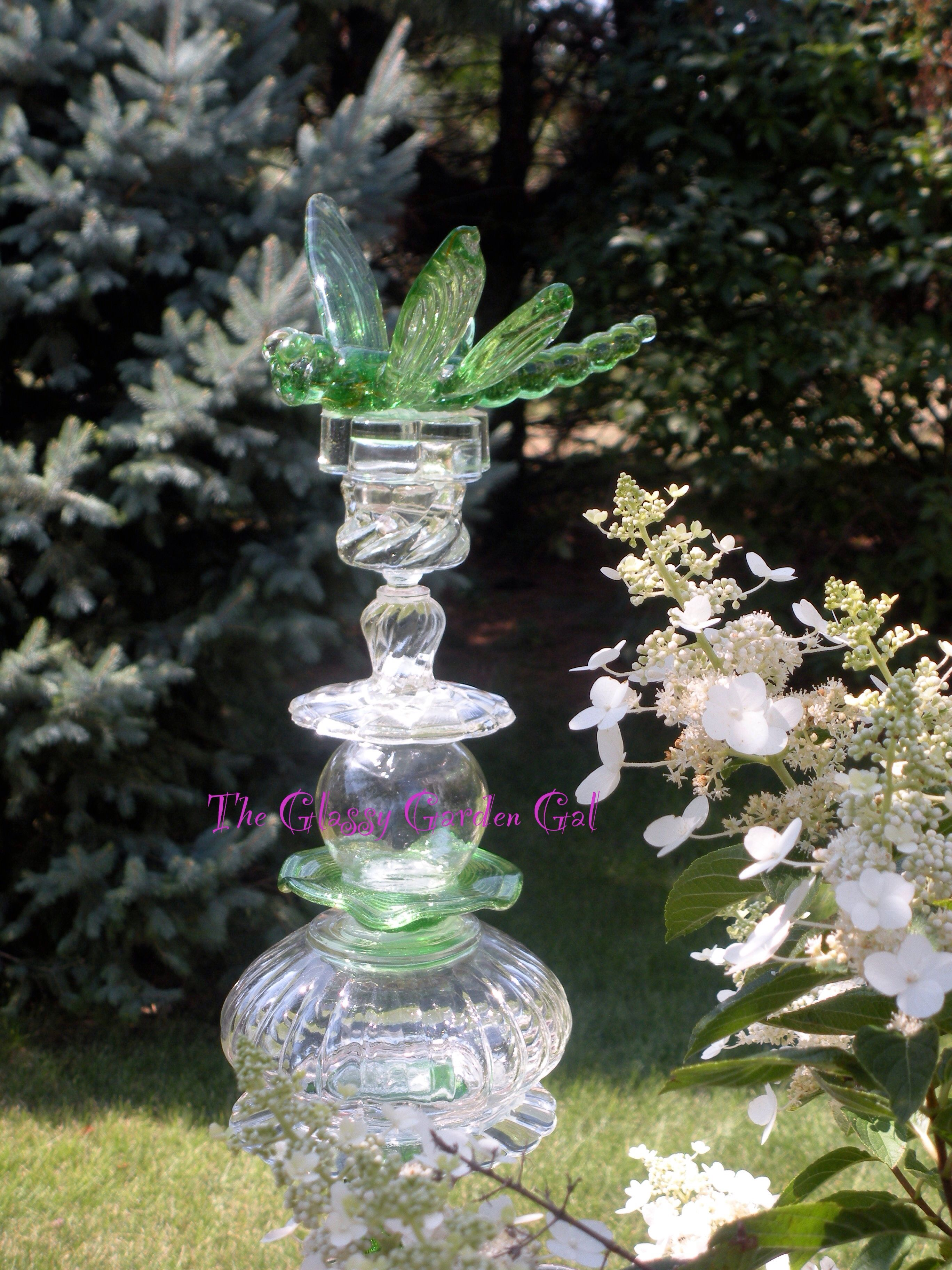 Glass garden totem glass garden art yard art repurposed for Recycled glass garden ornaments