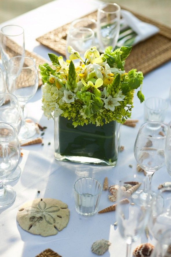 All Green Centerpiece From Rusticweddingchic Wedding Venues Beach Seaside Catering