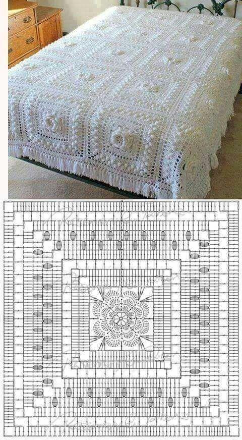 Colchas de crochet | Tejido | Pinterest | Decken, Rechteck und ...