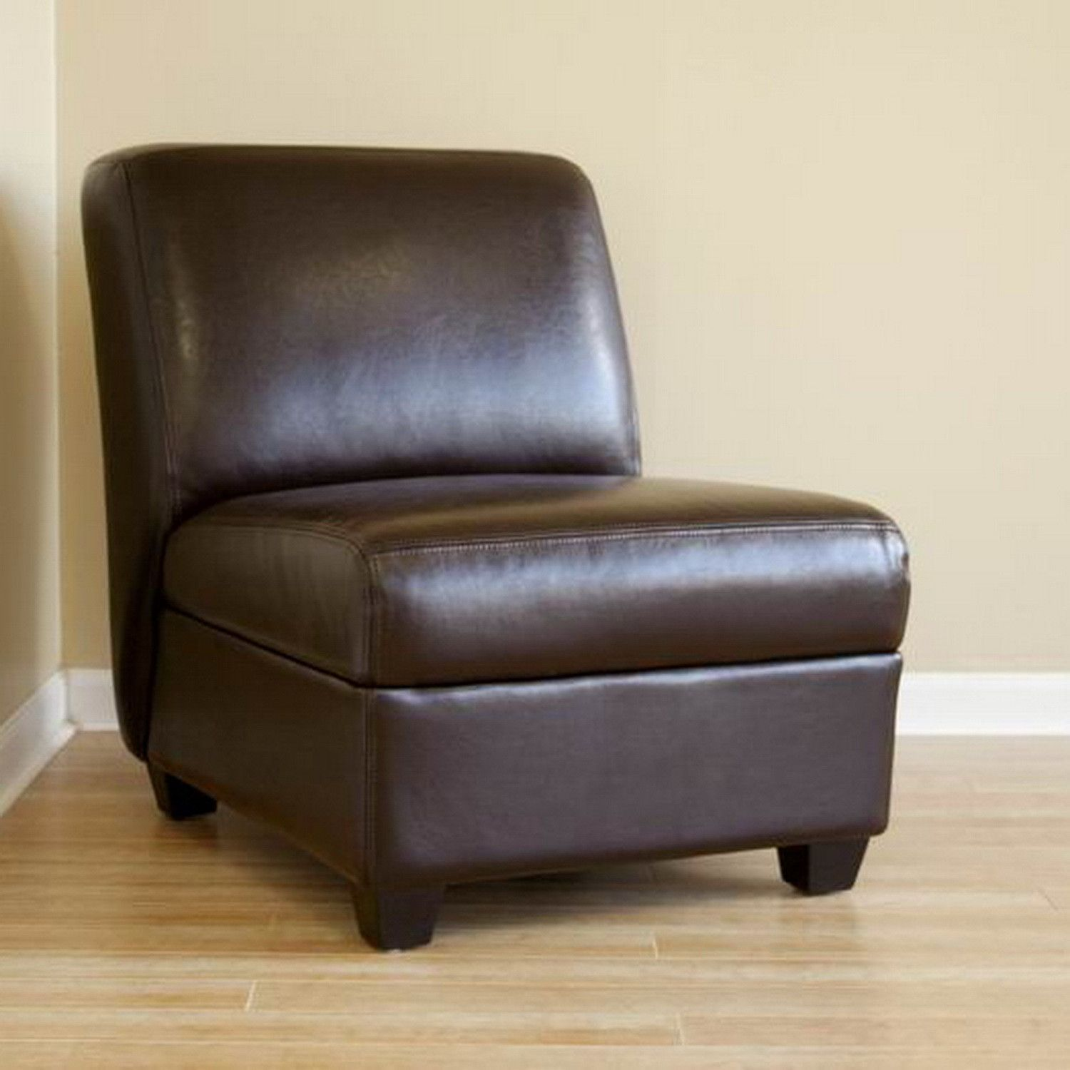 Best Baxton Studio Dark Brown Armless Club Chair Club Chairs Leather Club Chairs Upholstered 400 x 300