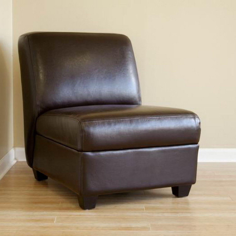 Baxton Studio Dark Brown Armless Club Chair  Furniture