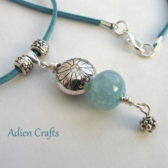 Turquoise Boho Necklace Crackled Agate and Daisy