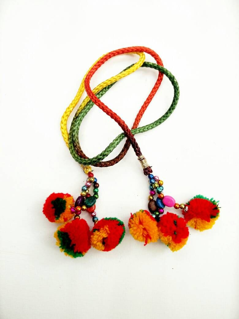 Pom Pom Tassels Beautiful Multicolor Beaded Jewelry Making Tassels