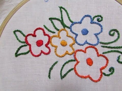 Hand Embroidery Chain Stitch Tutorial Youtube Mor Pinterest
