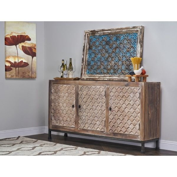 Kosas Home Ross Rustic White Finished Reclaimed Wood Sideboard