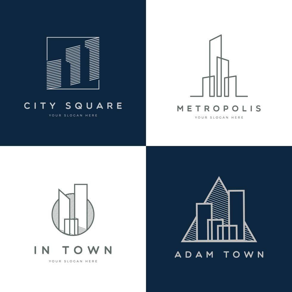 Property Logo Design Collection. Simple monogram property ...