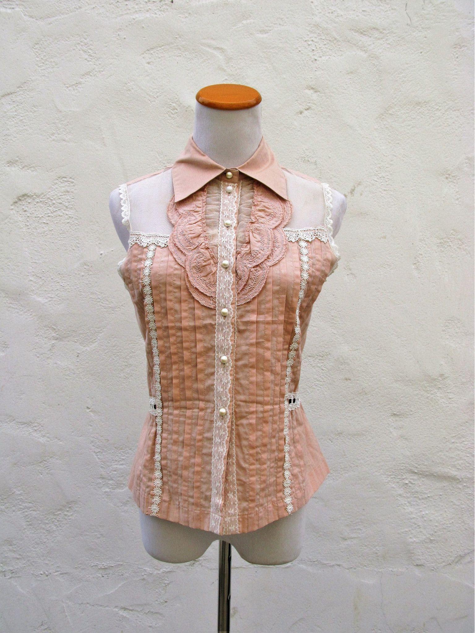 Adorable pleat u lace sleeveless edwardian blouse m products