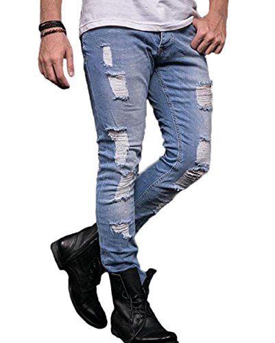 ca42834a80 Men s Ripped Skinny Jeans Slim Fit Stretch Pencil Denim Pants (US 31 ...