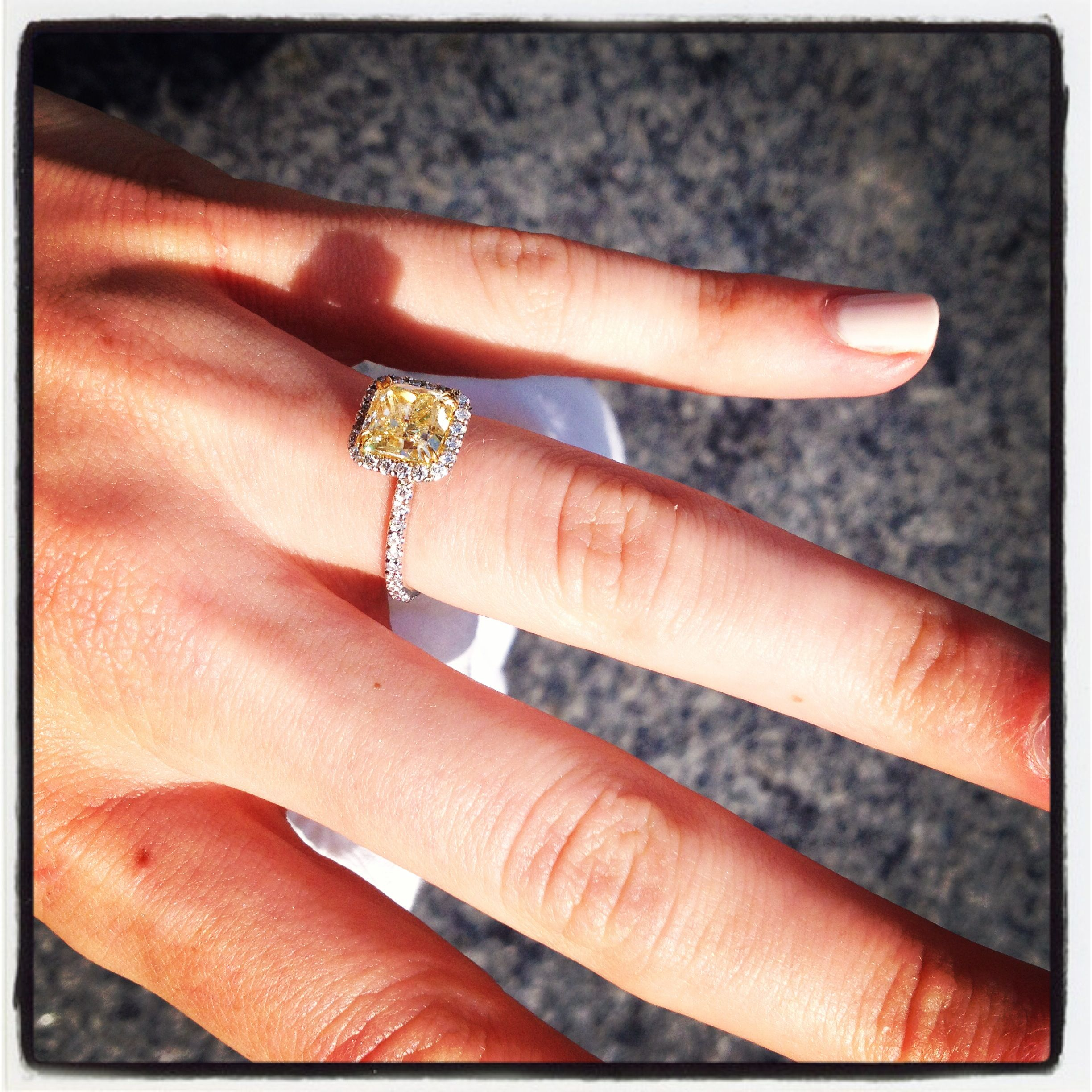 yellow diamond wedding rings I can t stop looking at my hand Yellow diamond engagement ring skinny band