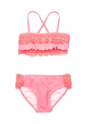 62eac6f1d7 J. Khaki Girls  2-Piece Crochet Flounce Bikini Set Girls 7-16 - Watermelon  - 14