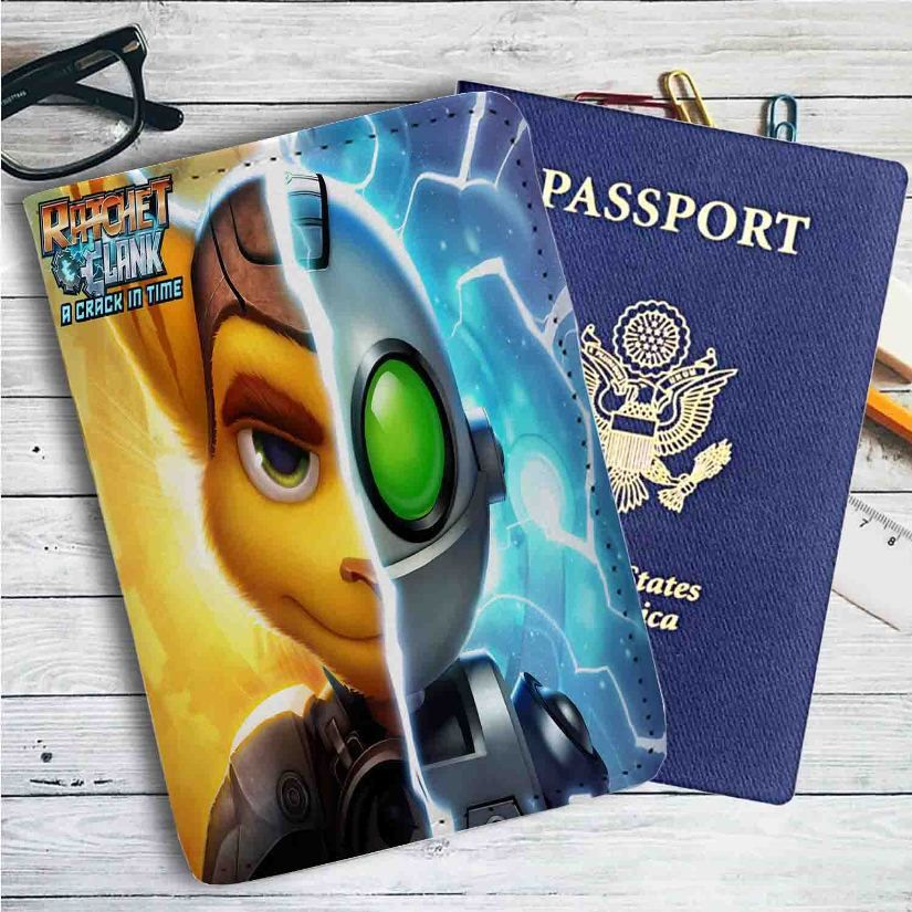 Ratchet & Clank Half Face Leather Passport Wallet Case Cover