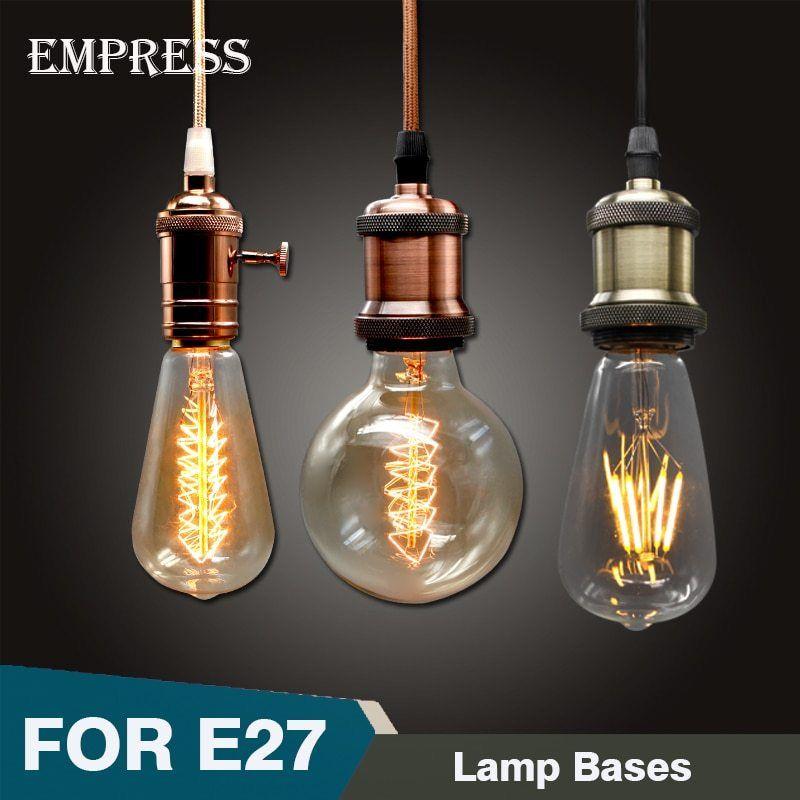 Vintage Metal Pendant Light Bronze Incandescent Bulb E27 Socket Edison Lamp Shade Holder Retro Bulb Iron S Metal Pendant Light Edison Lamp Cheap Pendant Lights
