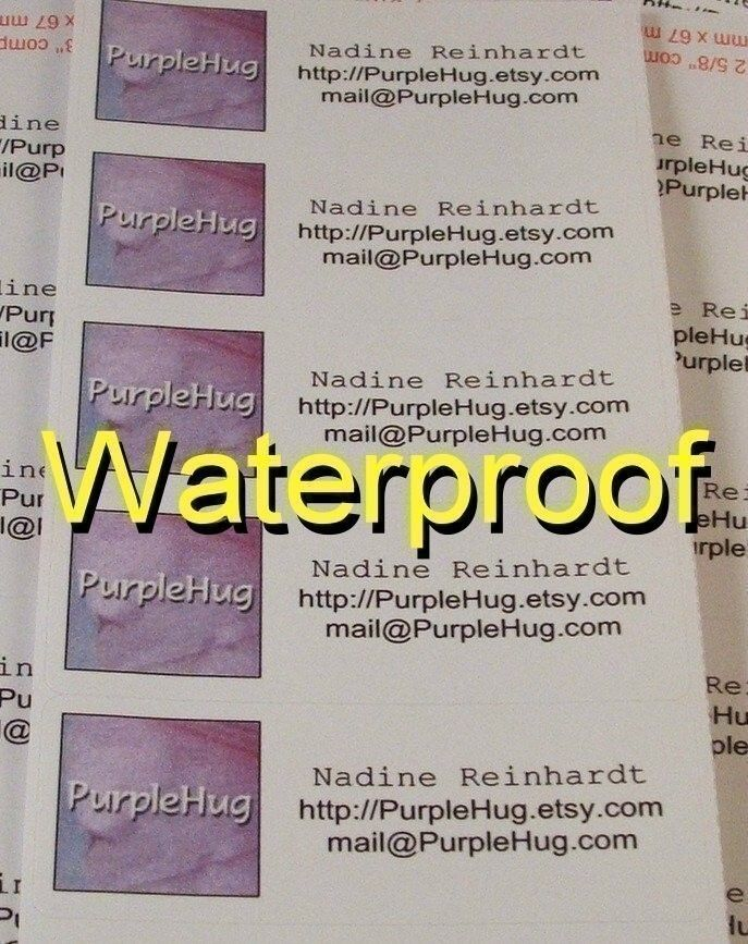 Waterproof Product Labels - custom made for you - 3 sheets - color laser printing. $8.00, via Etsy.