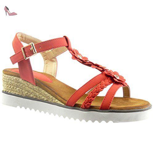 a9dc380bba1 Angkorly - Chaussure Mode Sandale Espadrille salomés plateforme ouverte femme  fleurs strass diamant corde Talon compensé