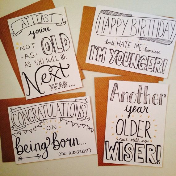 Funny Hand Drawn Birthday Card Bundle Of 4 A6 Cards With Envelopes Sarcastic Gold Detailing Quotes Humour