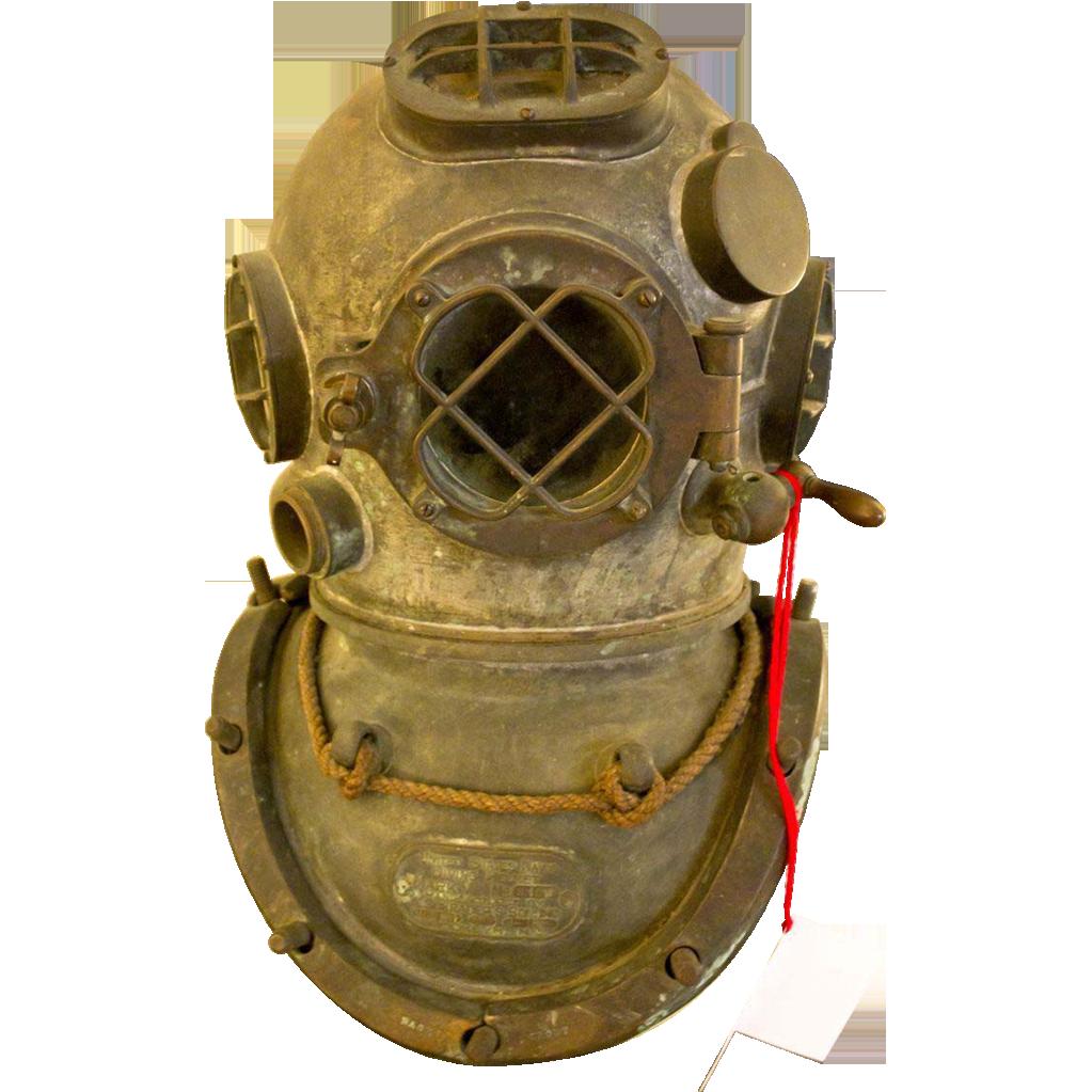 Antique Us Navy Mark V Divers Diving Helmet Scuba Decorative Vintage Helmet Antiques