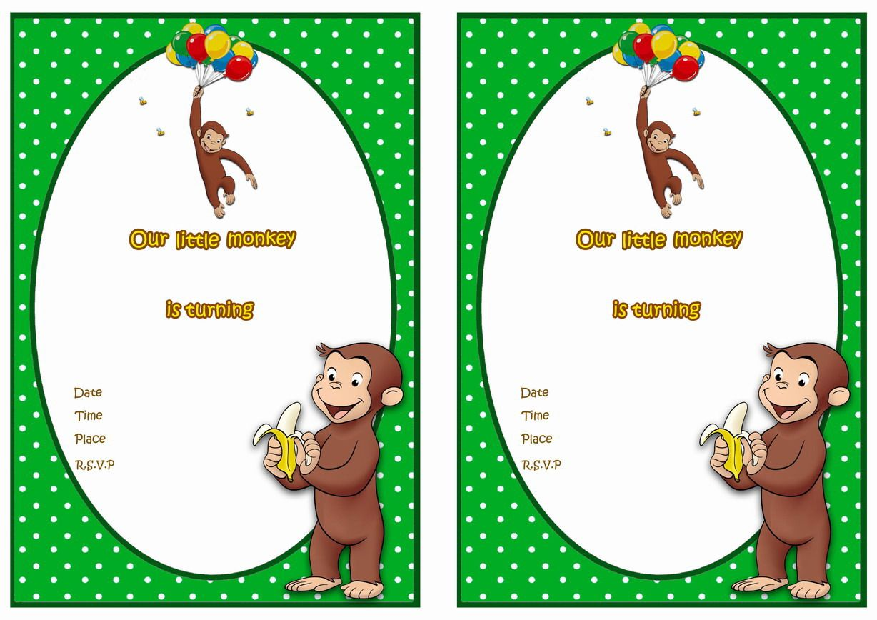 Curious George FREE Printable Birthday Party Invitations Birthday