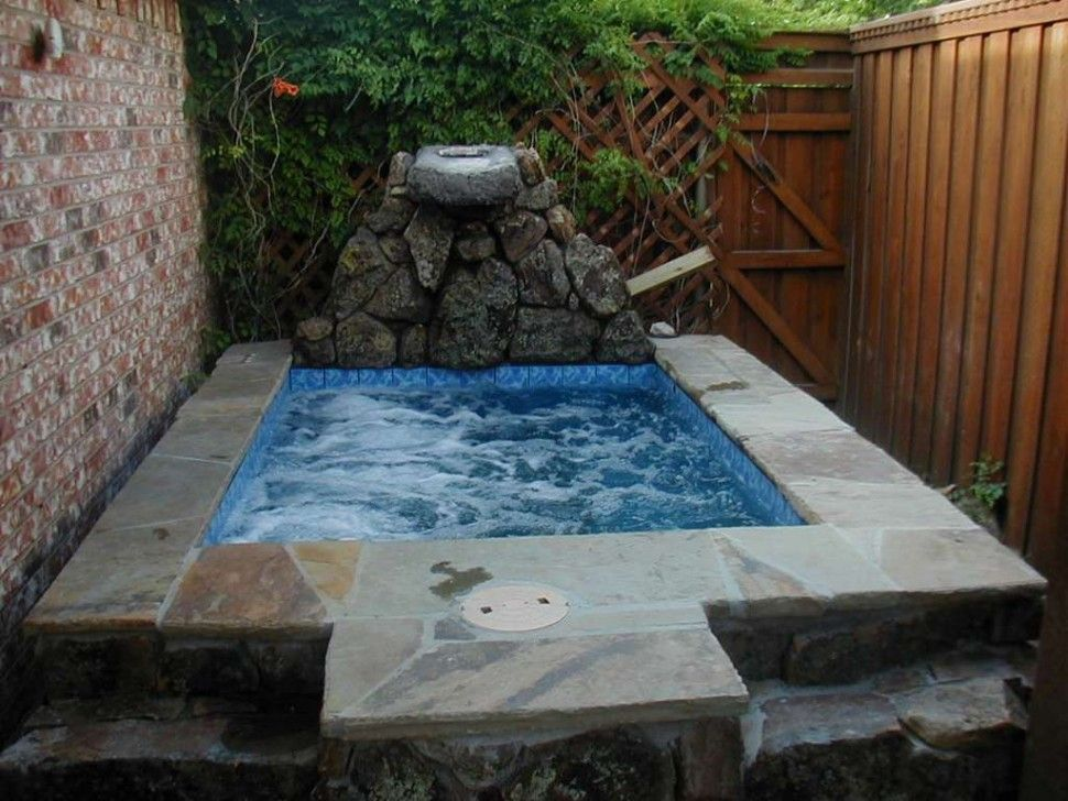 Bathroom:Square Hot Tub With Stone Edging Also Brick Wall Plus Brown ...