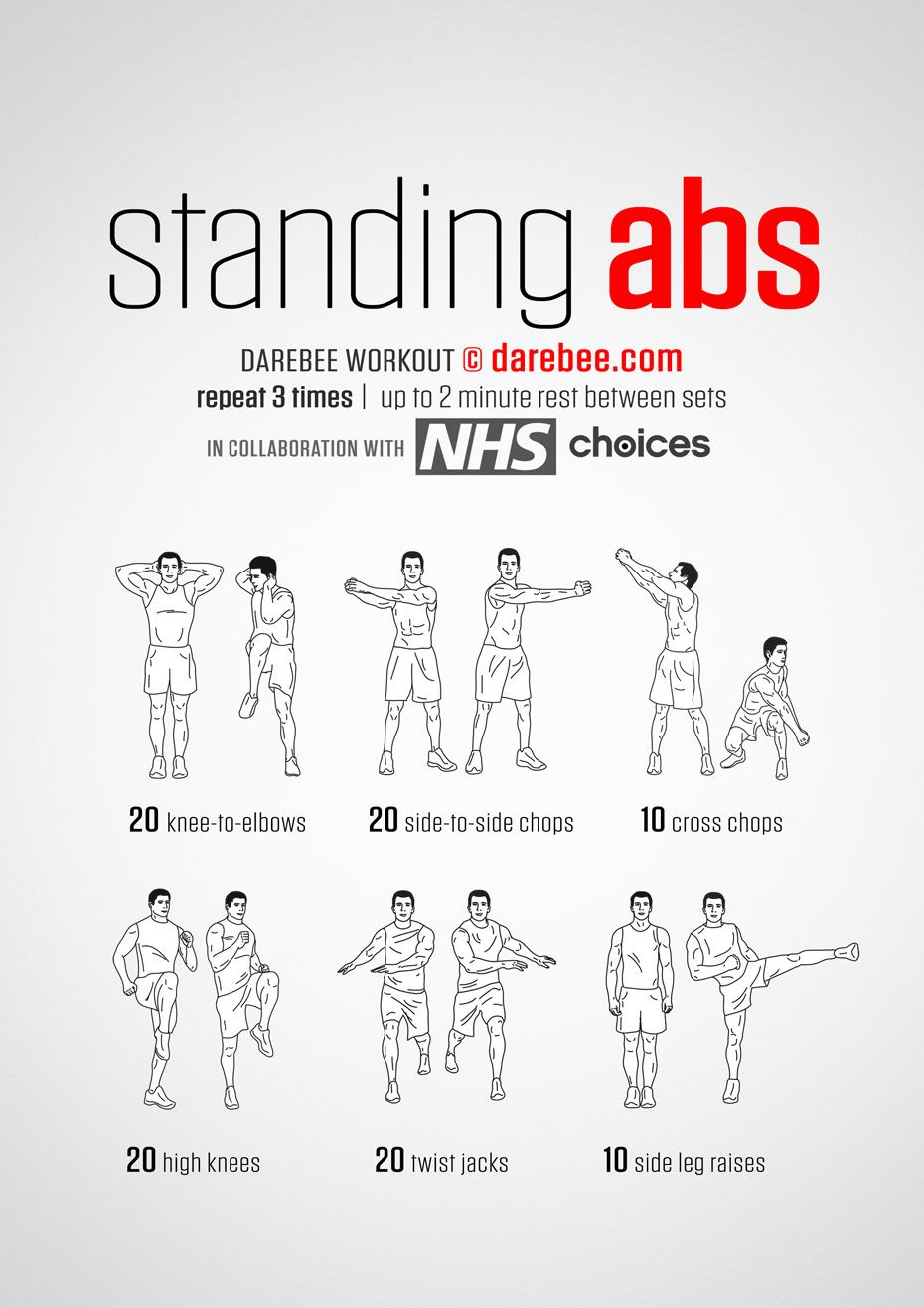 Standing Abs Workouts Belly Exercises Pinterest