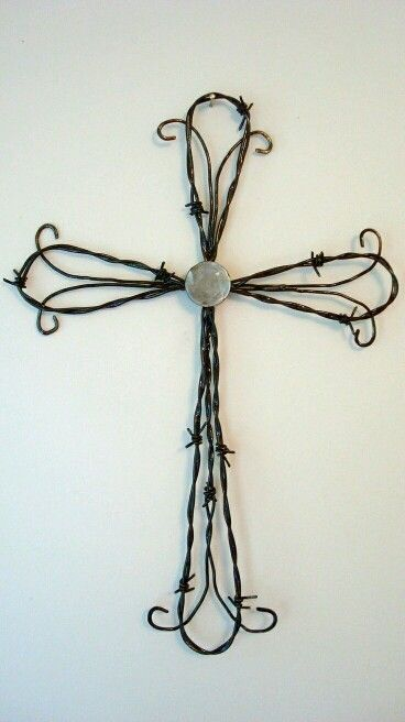Barb wire cross | Ideas for my dad | Pinterest | Wire crosses ...