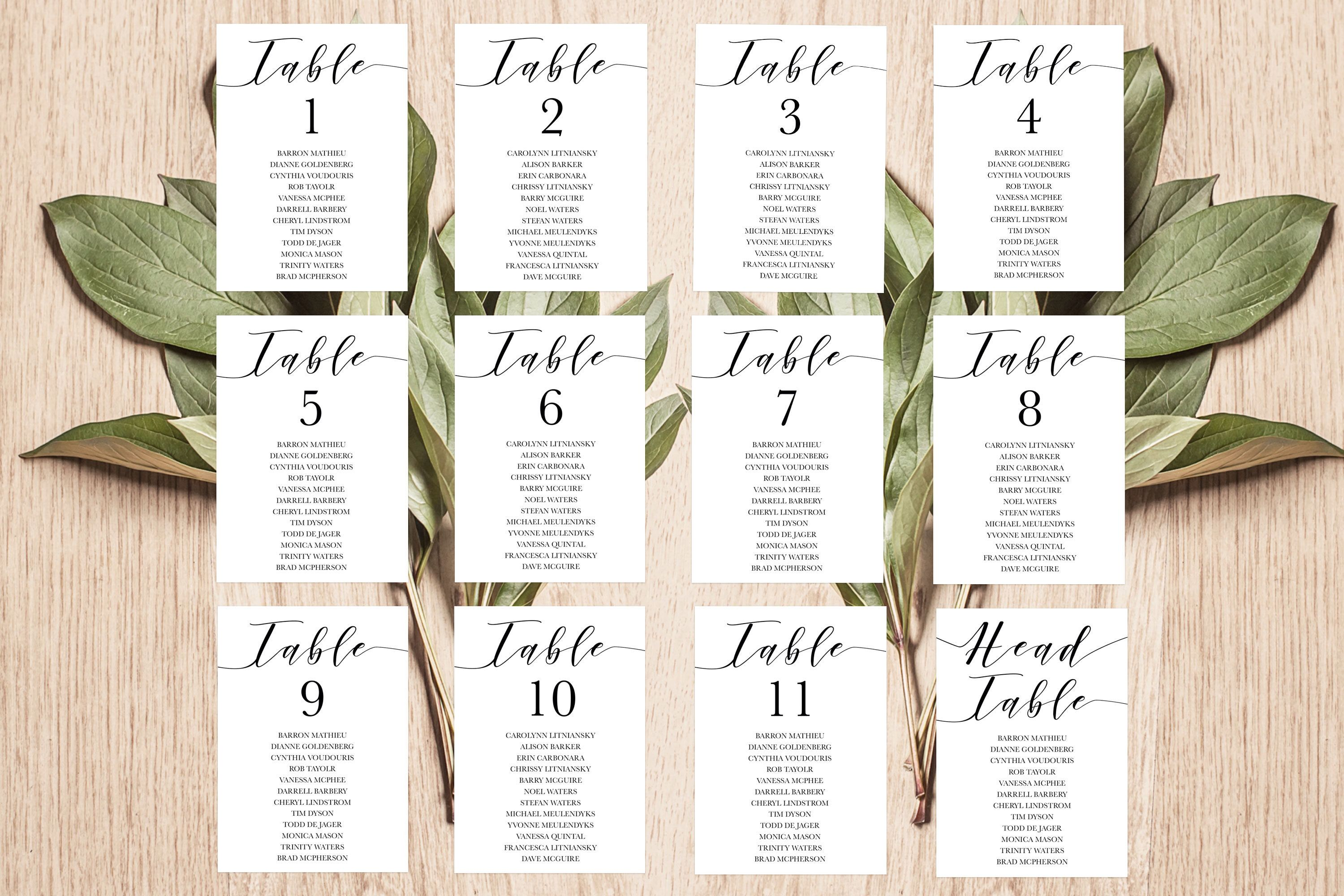calligraphy seating cards wedding printable unique seating chart