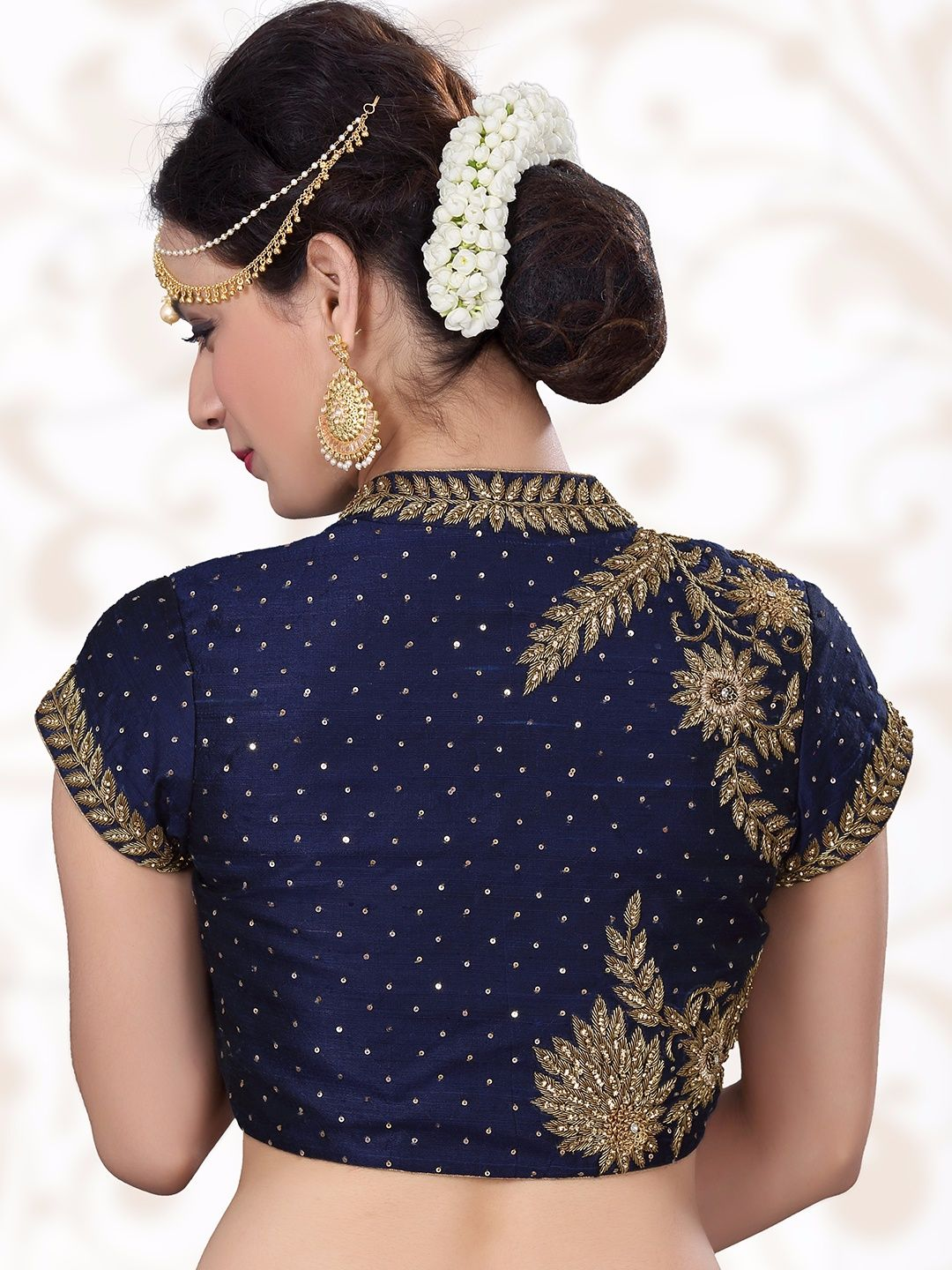 ad977b6485428 Shop Navy designer ready made raw silk blouse online from G3fashion India.  Brand - G3