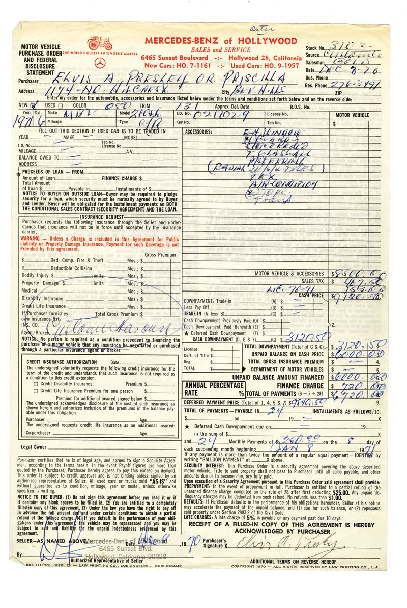 1970 Elvis Presley Signed Mercedes Benz Purchase Agreement Carbon