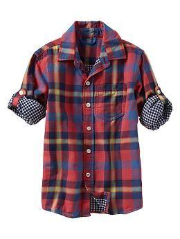 Plaid double-weave shirt | Gap