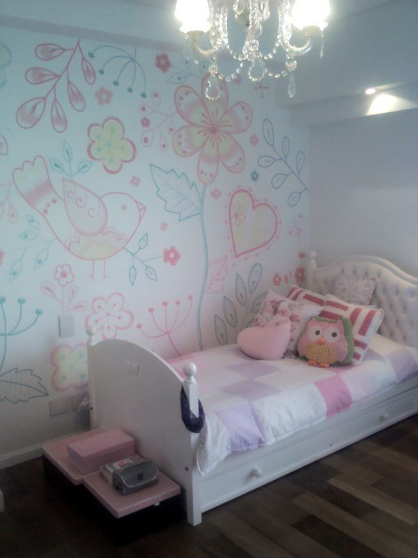 Mural cuarto ni a p ntado por lucia molina decoracion for Decoracion cuarto nina