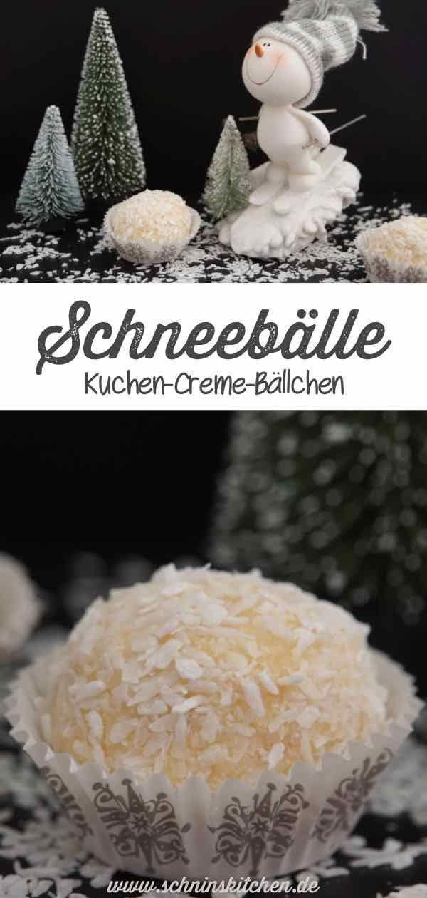 Schneebälle - leckere Kuchen-Creme-Bällchen - Schnin's Kitchen